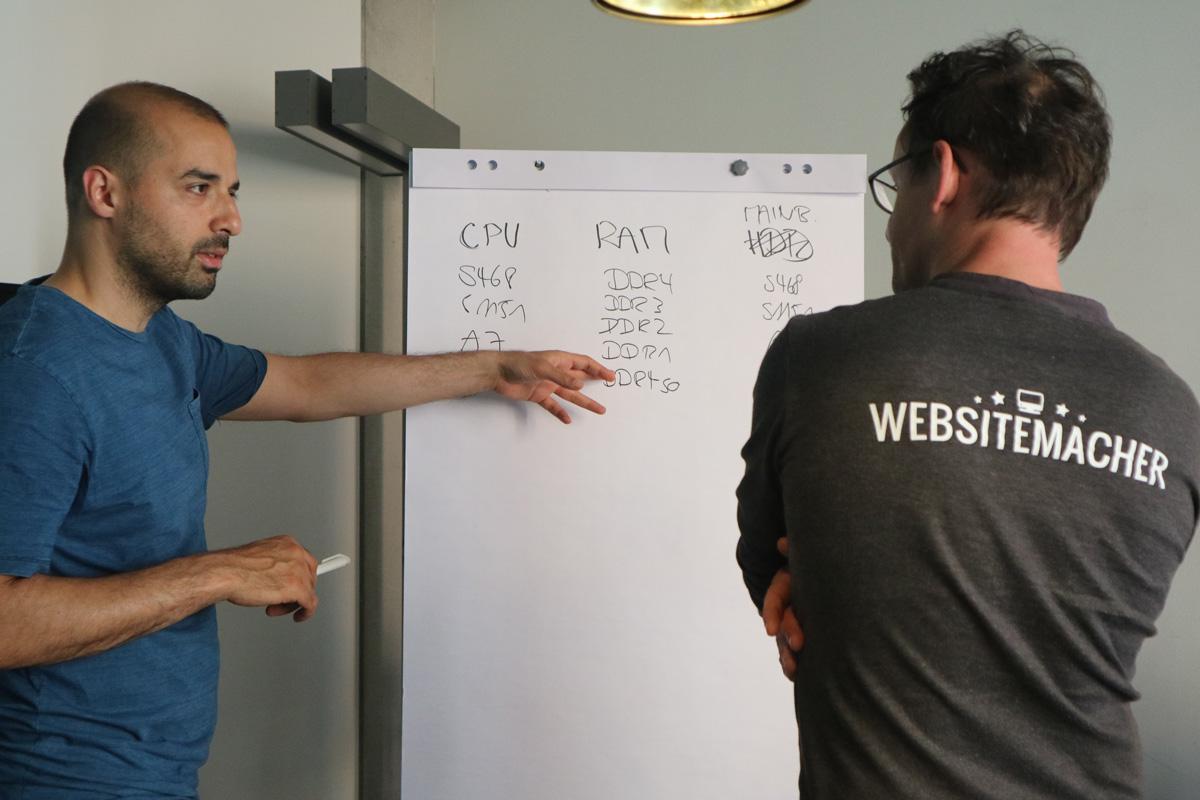 Kaveh und Felix während der sleekshop Masterclass.